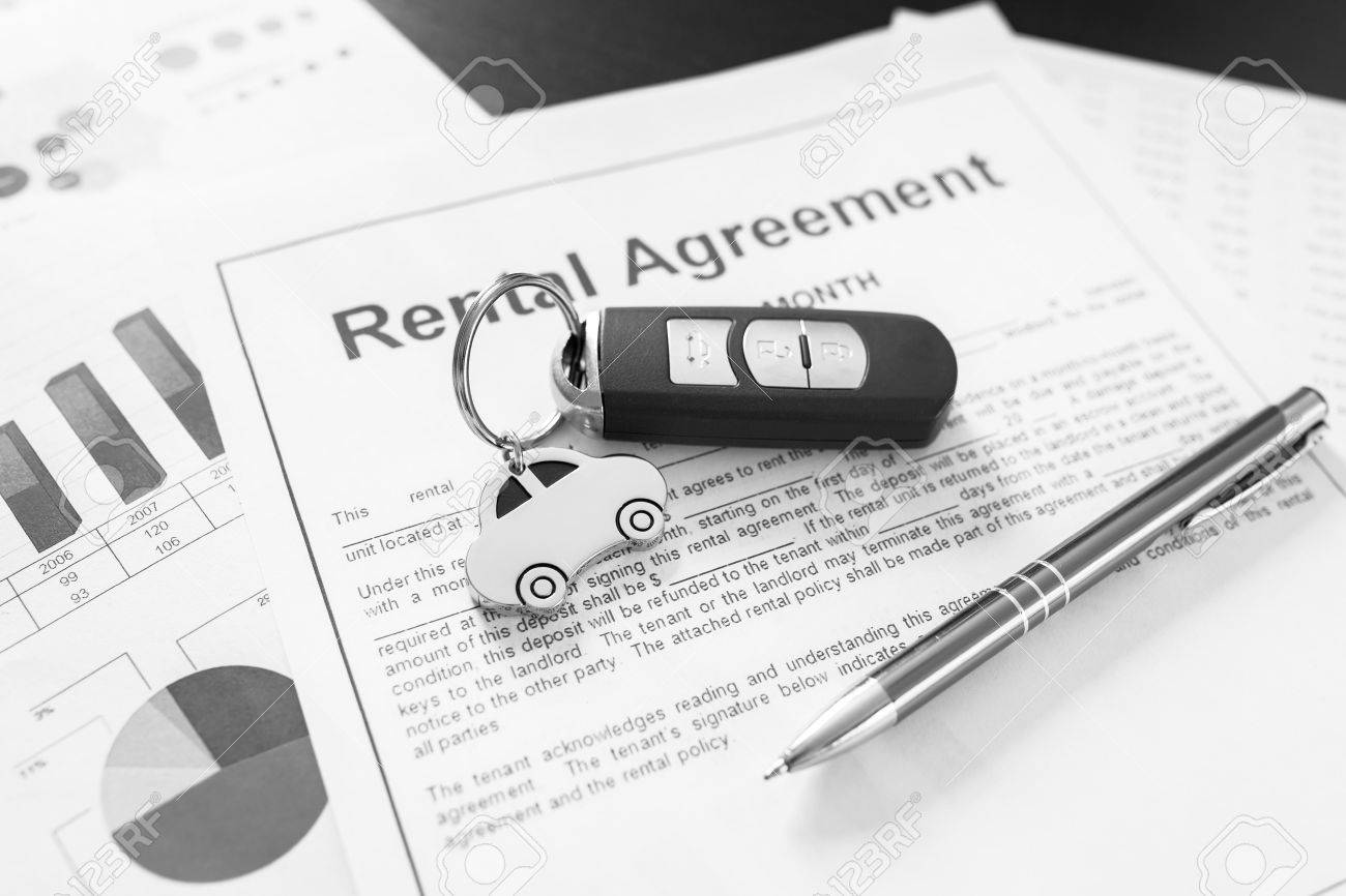 Signing Car Rental Agreement Contract Stock Photo - 59259457