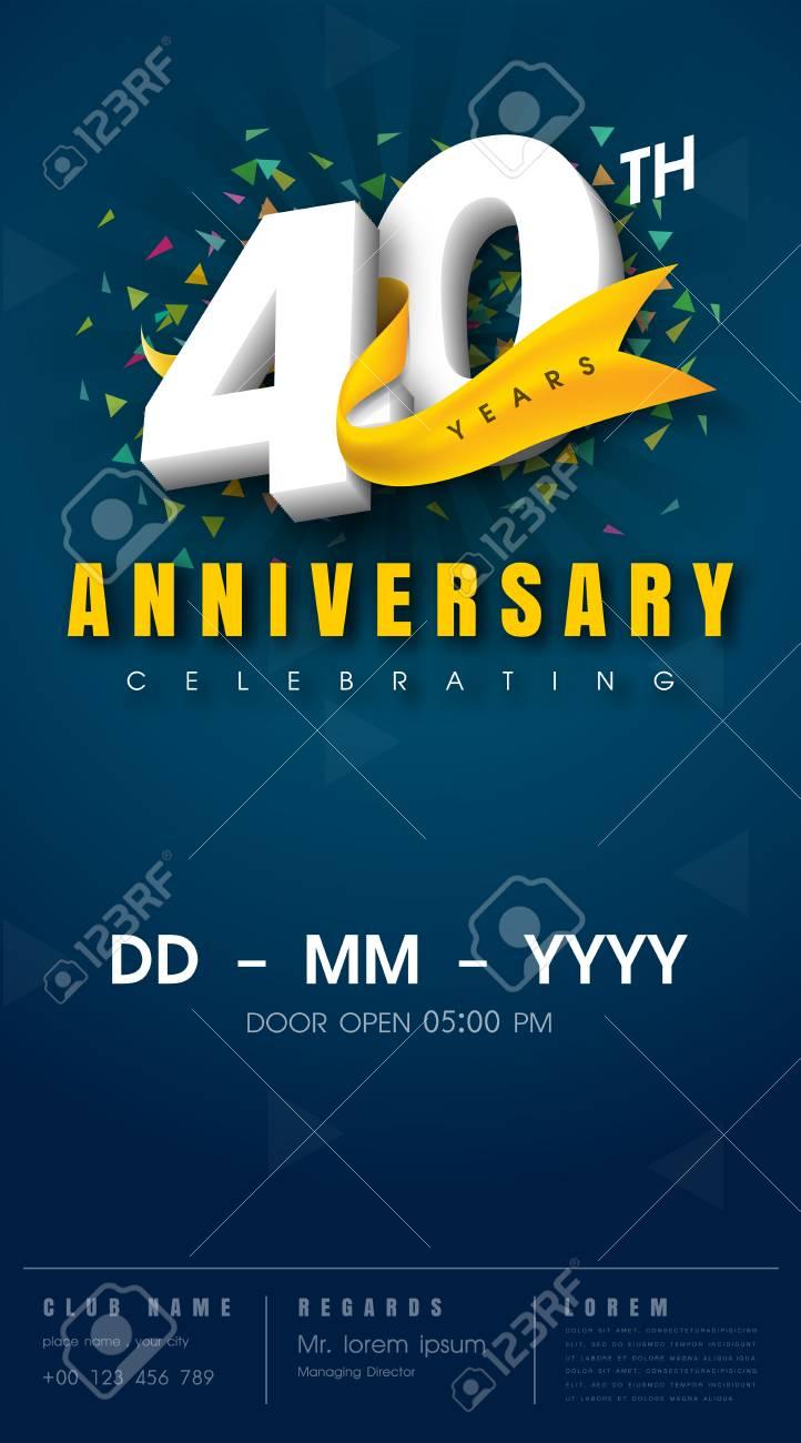 carte d invitation anniversaire 40 ans conception de modele de celebration elements de design moderne 40e anniversaire fond bleu fonce