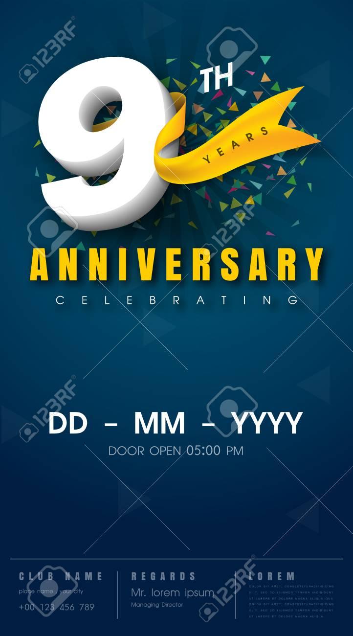 9 Year Anniversary Symbol : anniversary, symbol, Years, Anniversary, Invitation, Celebration, Template, Design.., Royalty, Cliparts,, Vectors,, Stock, Illustration., Image, 68319845.