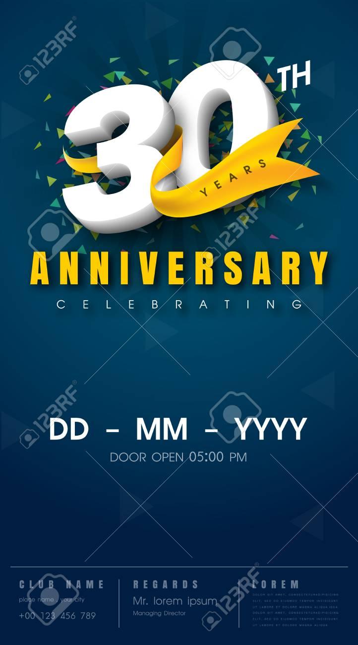 carte d invitation anniversaire 30 ans conception de modele de celebration elements de design moderne 30e anniversaire fond bleu fonce