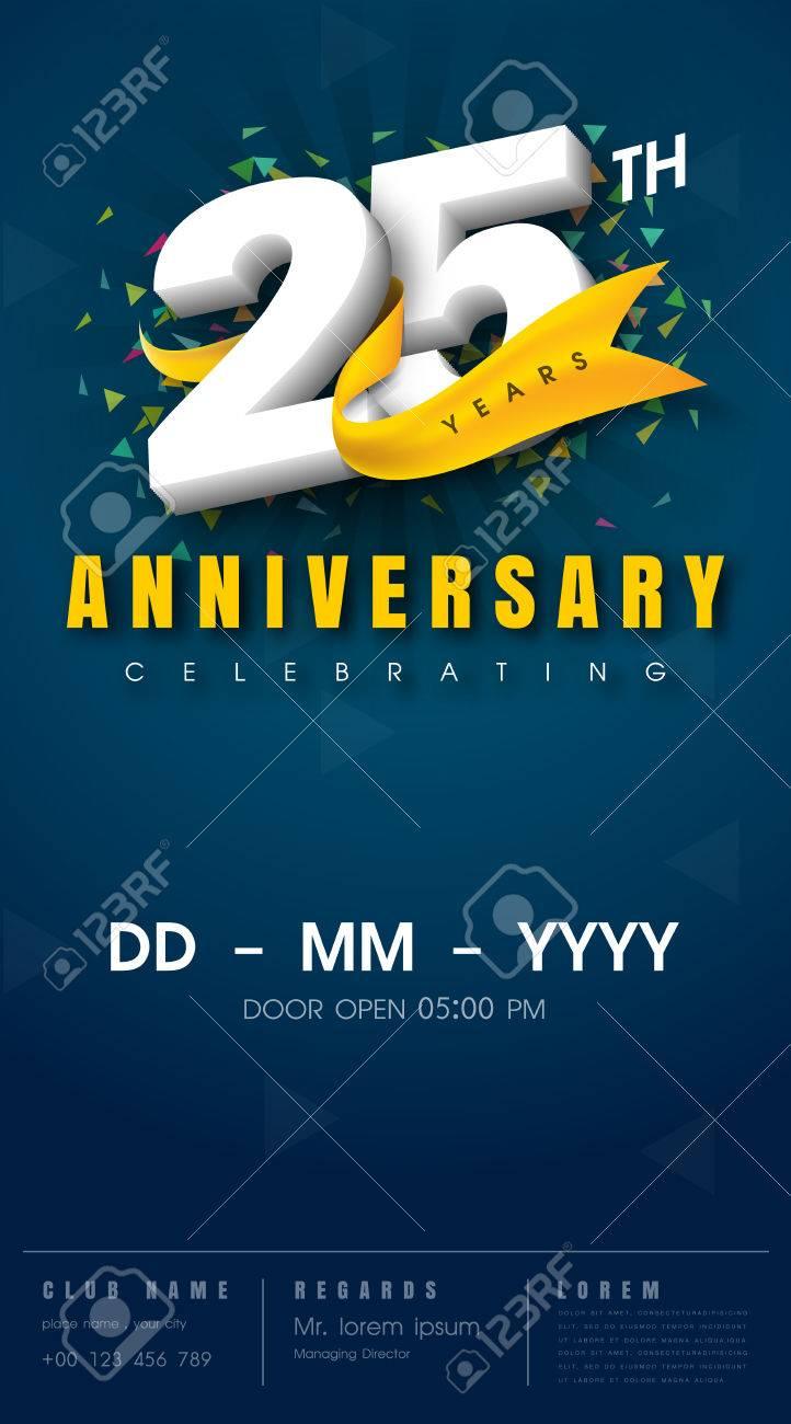 25 years anniversary invitation card celebration templatedesign