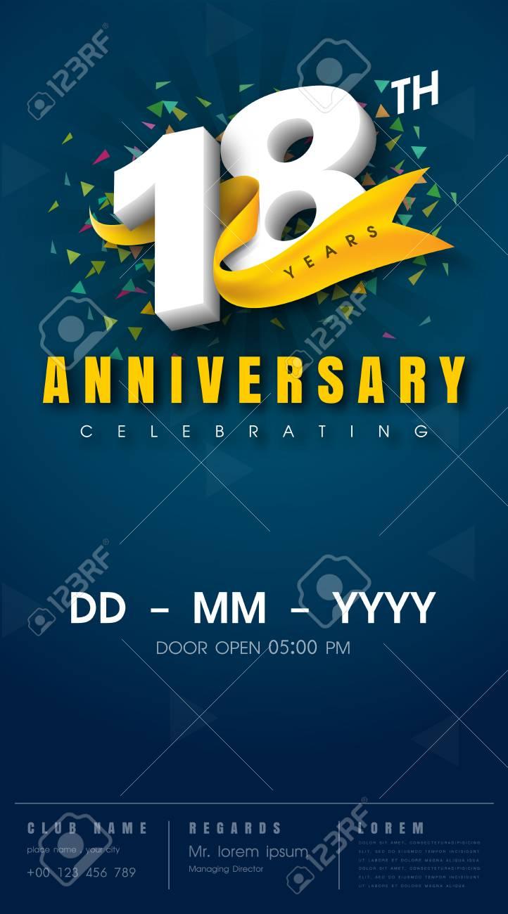 carte d invitation anniversaire 18 ans conception de modele de celebration elements de design moderne 18e anniversaire fond bleu fonce