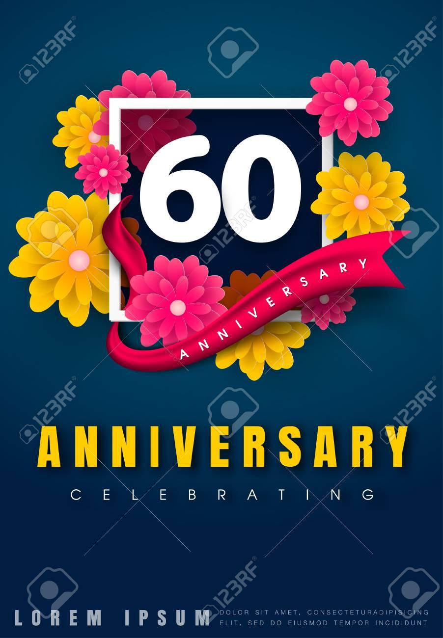 carte d invitation anniversaire 60 ans conception de modele de celebration 60e anniversaire avec des fleurs et des elements de design moderne fond