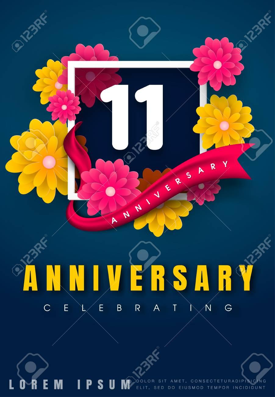 carte d invitation anniversaire 11 ans modele de celebration 11e anniversaire avec des fleurs et des elements de design moderne fond bleu fonce