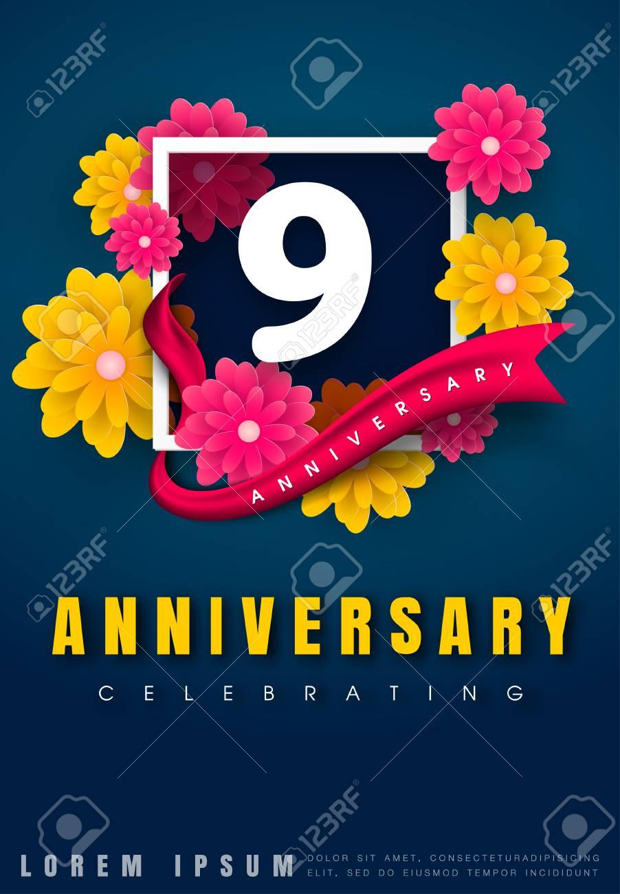 9 Year Anniversary Symbol : anniversary, symbol, Years, Anniversary, Invitation, Celebration, Template, Design.., Royalty, Cliparts,, Vectors,, Stock, Illustration., Image, 75440643.