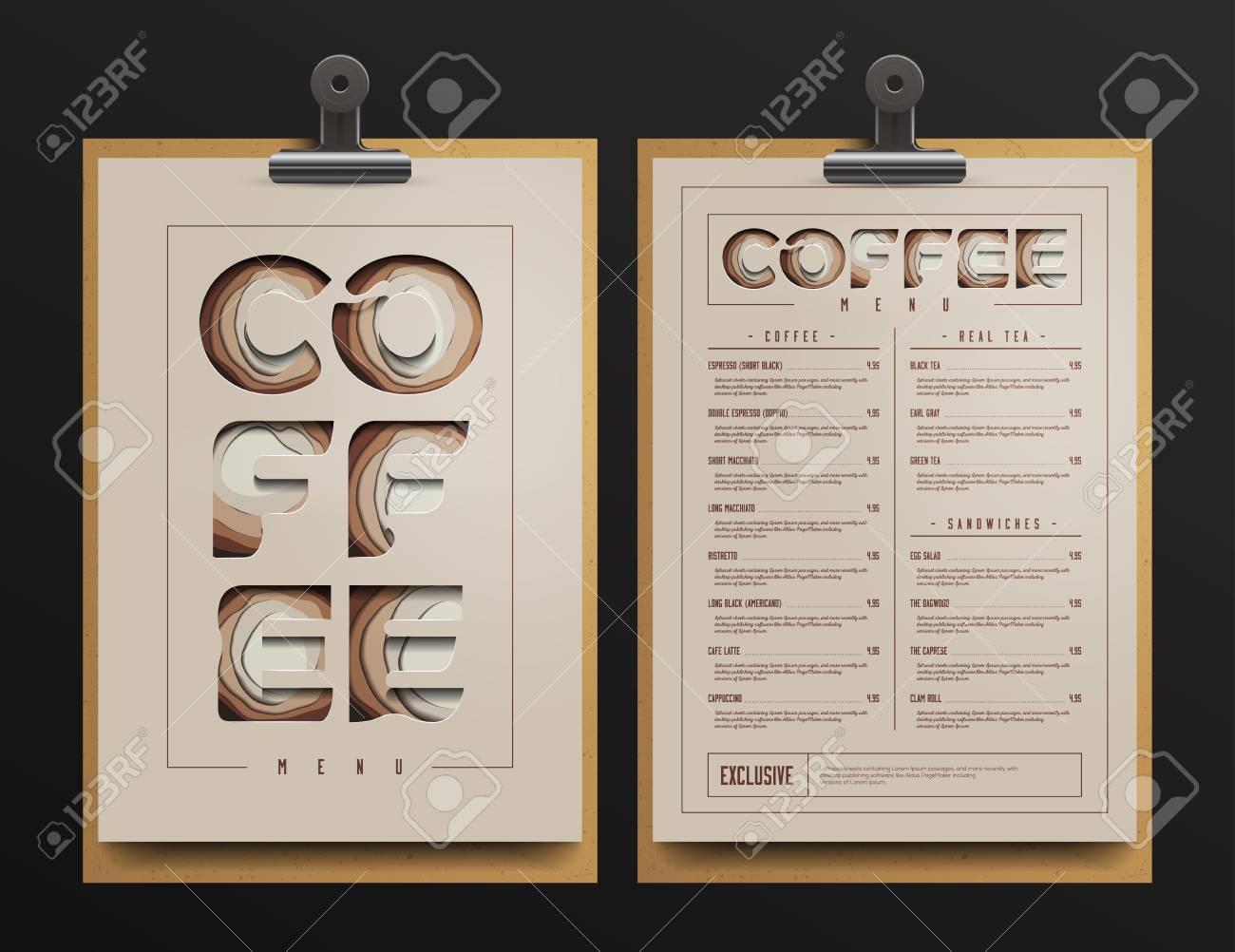 Coffee Shop Menu Template. Coffee Menu Cart Mock Up. Vector Illustration.  Stock Vector