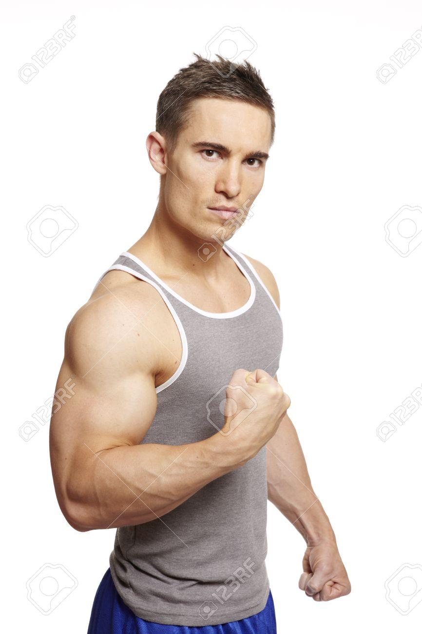 muscular young man flexing