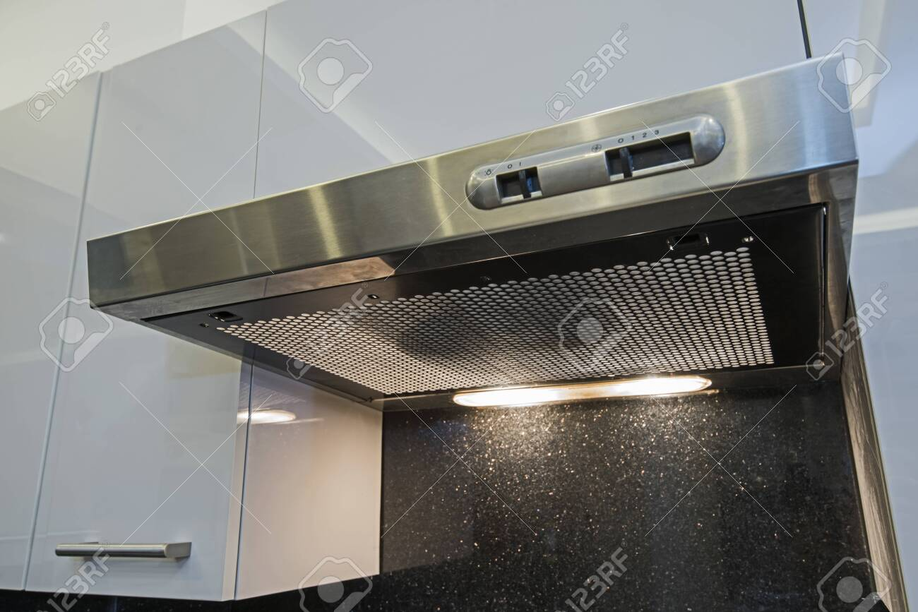 interior design decor of modern kitchen showing extractor fan stock photo picture and royalty free image image 115589998