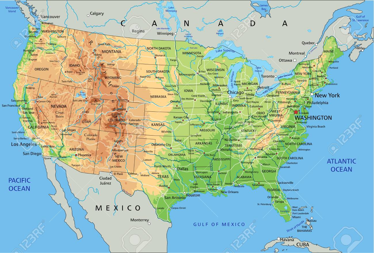 High Detailed United States Of America Physical Map With Labeling Royalty Free Cliparts Vectors And Stock Illustration Image 122716524