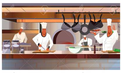 Cooks Working At Restaurant Kitchen Vector Illustration Busy Royalty Free Cliparts Vectors And Stock Illustration Image 112274003
