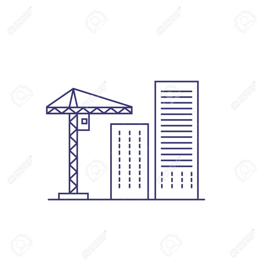 medium resolution of construction crane and buildings line icon construction site building industry housing development
