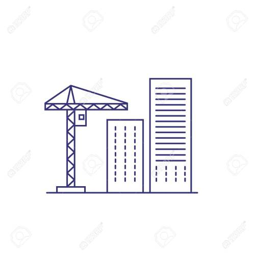 small resolution of construction crane and buildings line icon construction site building industry housing development