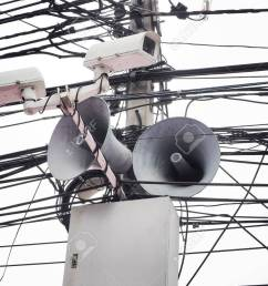 cctv camera security and vintage horn speaker with cables and wires on pole white background [ 1300 x 975 Pixel ]