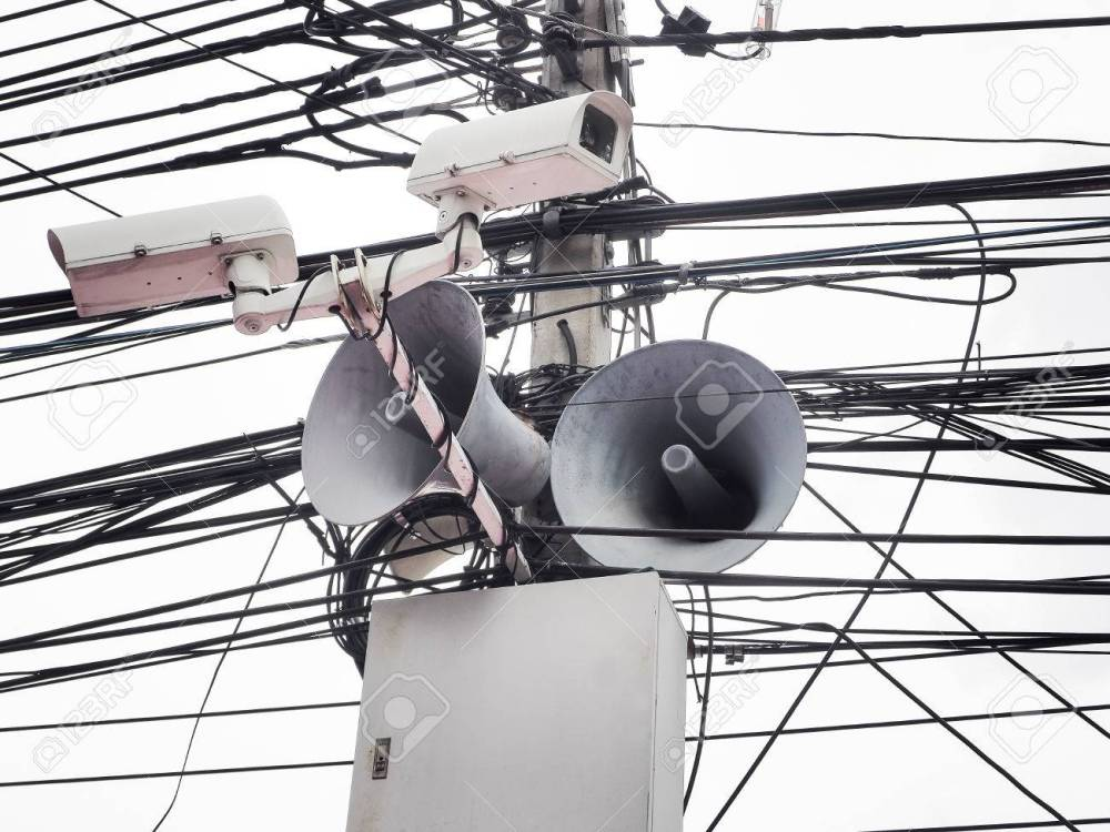 medium resolution of cctv camera security and vintage horn speaker with cables and wires on pole white background