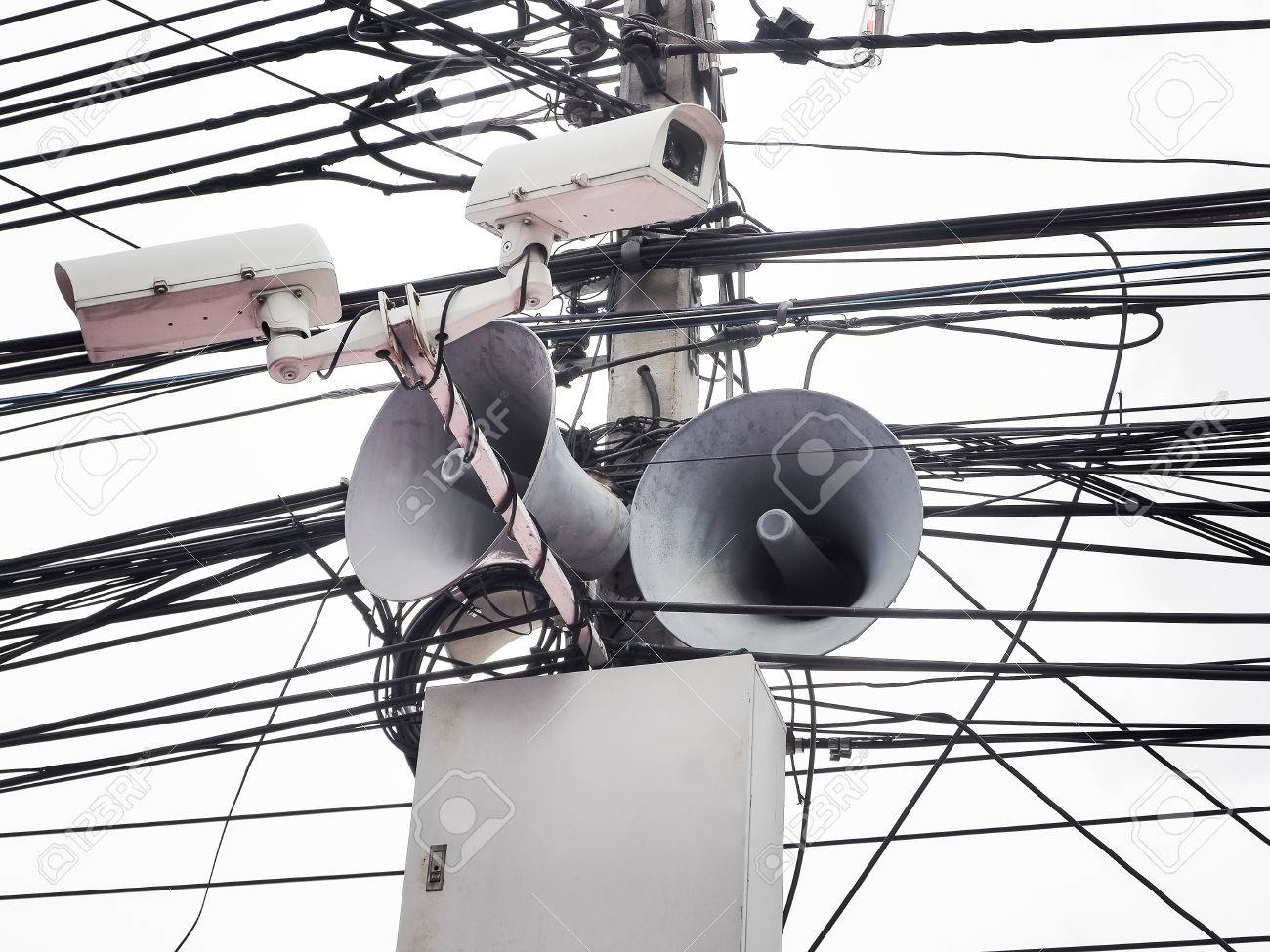 hight resolution of cctv camera security and vintage horn speaker with cables and wires on pole white background
