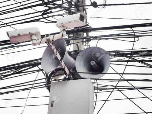 small resolution of cctv camera security and vintage horn speaker with cables and wires on pole white background