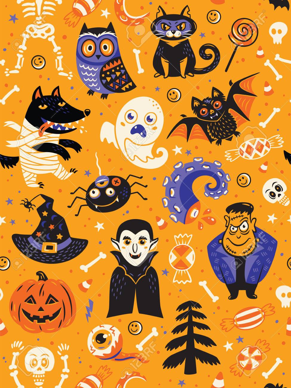Cute Cartoon Halloween Pictures : cartoon, halloween, pictures, Cartoon, Halloween, Seamless, Pattern, Yellow, Background..., Royalty, Cliparts,, Vectors,, Stock, Illustration., Image, 62911233.