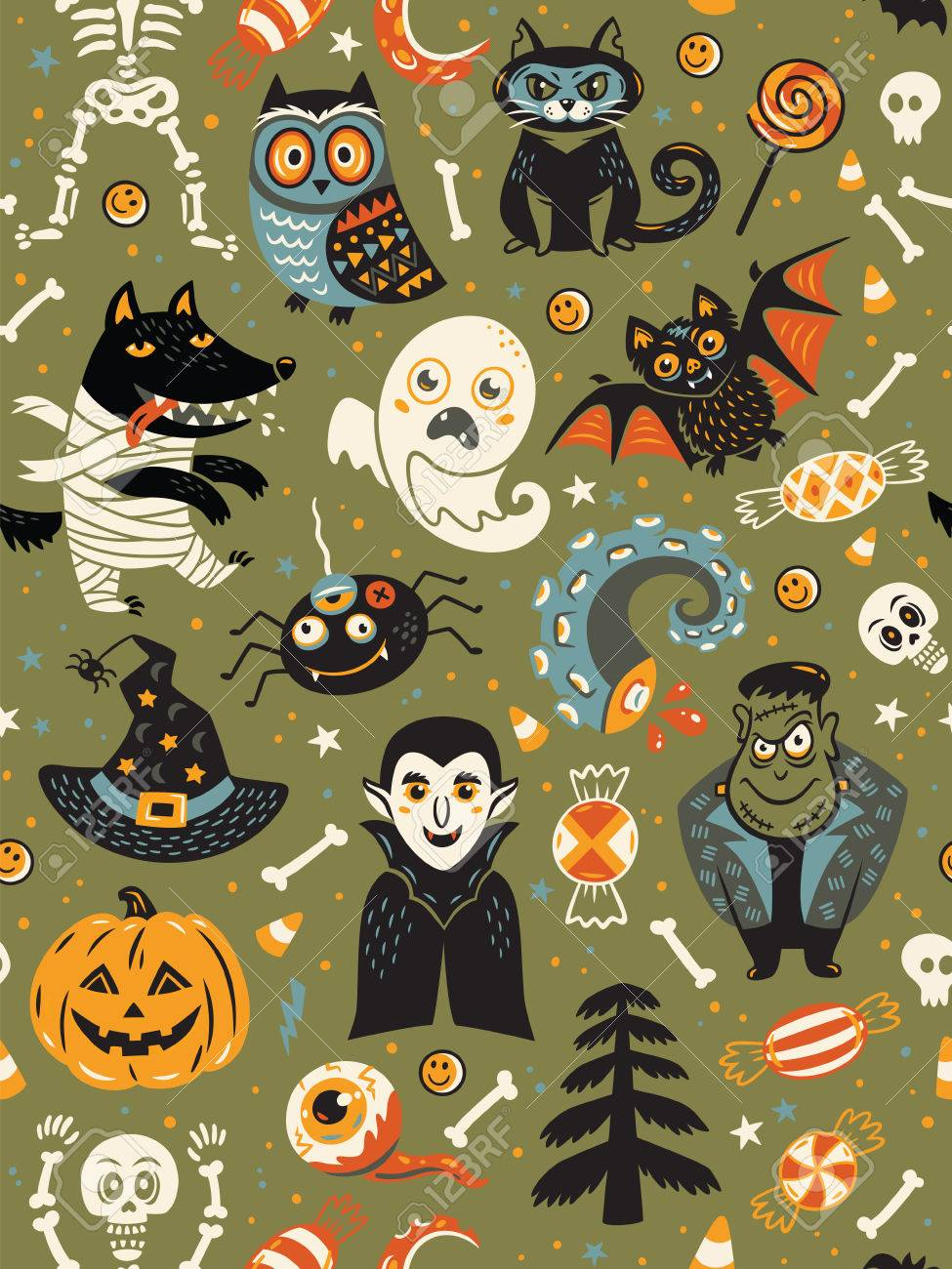 Cute Cartoon Halloween Pictures : cartoon, halloween, pictures, Cartoon, Halloween, Seamless, Pattern, Green, Background..., Royalty, Cliparts,, Vectors,, Stock, Illustration., Image, 62911234.