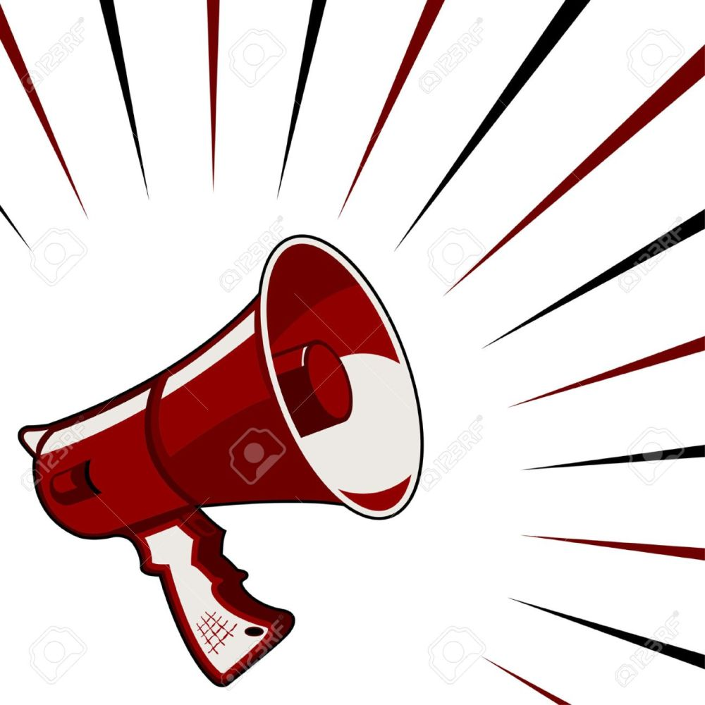 medium resolution of red megaphone announcement over starry square background stock vector 8069024