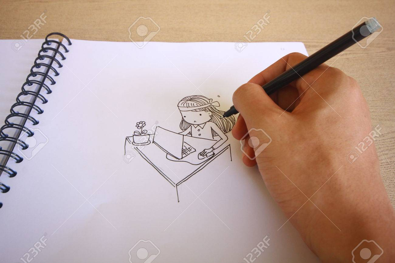 banque d images dessin dessin anime bloc notes sur bois bureau fond