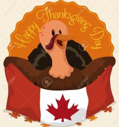 happy turkey holding canadian flag celebrating thanksgiving day over autumnal leaves stock vector 80333587 [ 1197 x 1300 Pixel ]