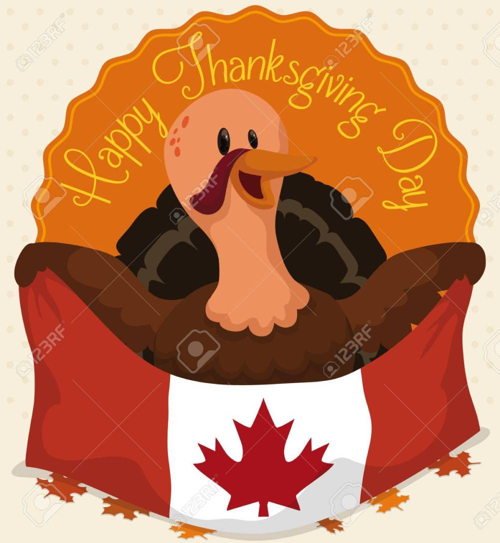 medium resolution of happy turkey holding canadian flag celebrating thanksgiving day over autumnal leaves stock vector 80333587