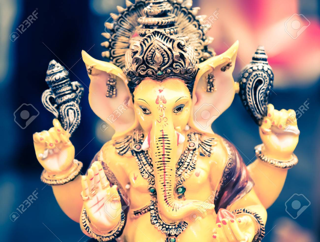 Yellow Ganesh Elephant Hindu God Statue Closeup Focused For Rich Stock Photo Picture And Royalty Free Image Image 46072136