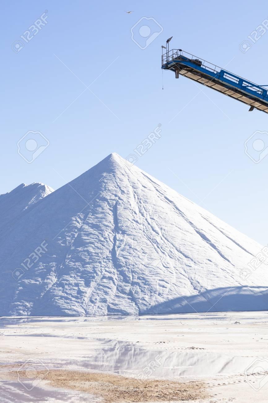 white salt mountain on