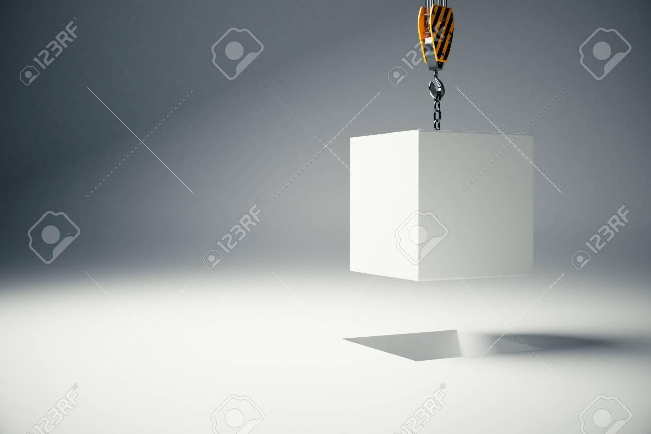 hight resolution of stock photo white block suspended on crane hook on light background 3d rendering