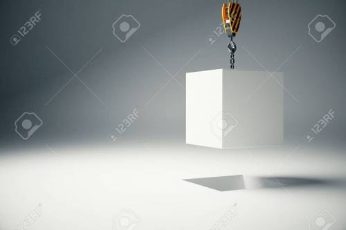 small resolution of stock photo white block suspended on crane hook on light background 3d rendering