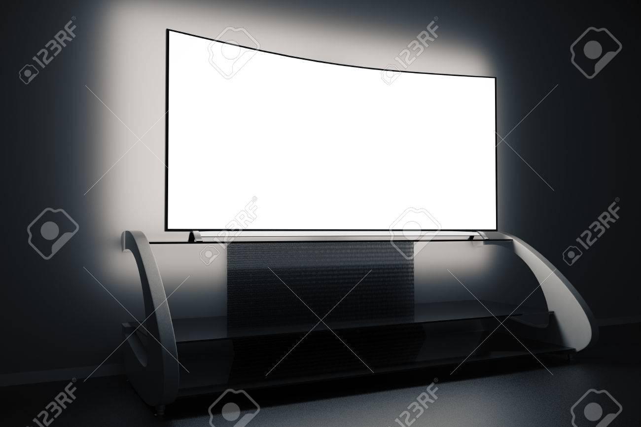 meuble tv moderne et vide ecran plat lumineux dans une piece sombre vue laterale maquette rendu 3d