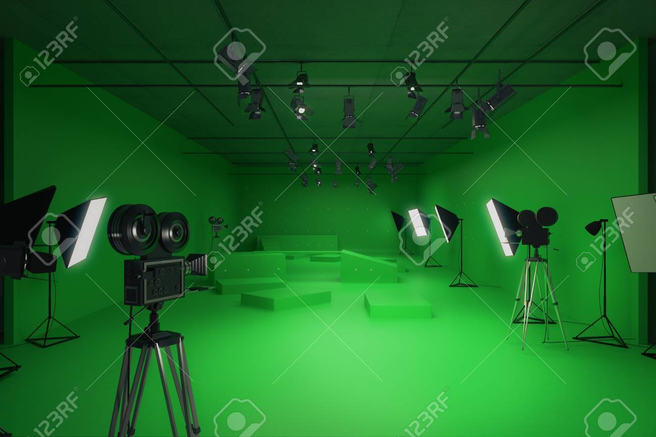 modern green photo studio with old style movie cameras and professional
