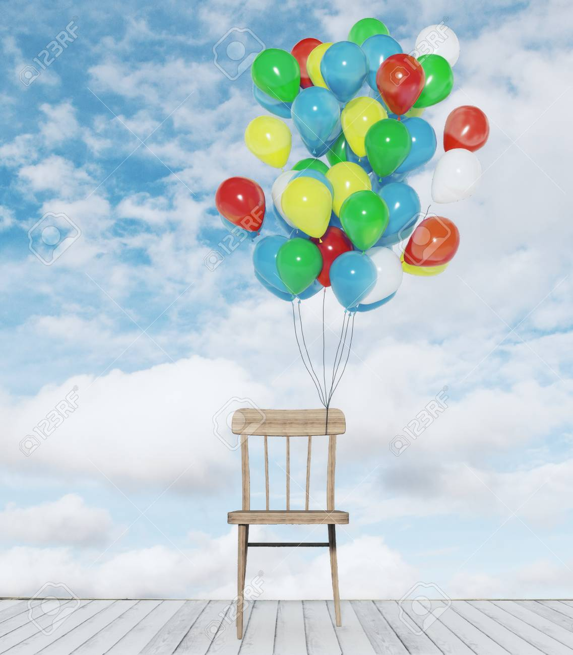 chair with balloons zero g recliner abstract colorful on bright sky clouds background creativity and festive concept
