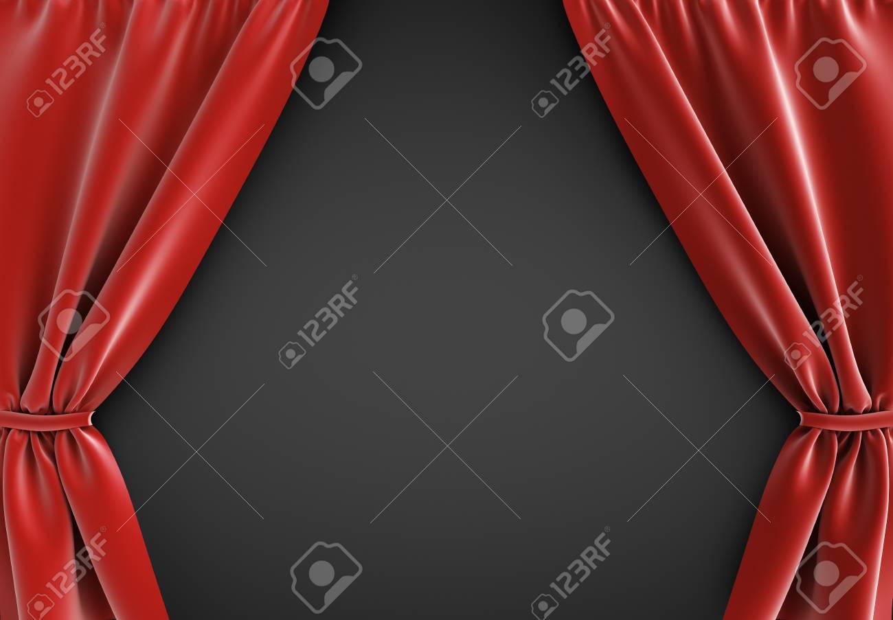 rideau rouge a fond noir