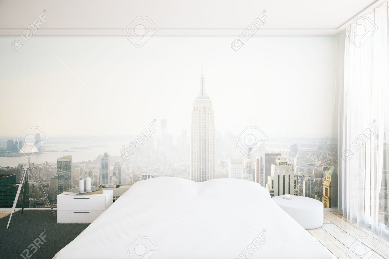 Carte da parati foglie di banano. Creative Furnished Bedroom Interior With New York City Wallpaper 3d Rendering Stock Photo Picture And Royalty Free Image Image 58161839
