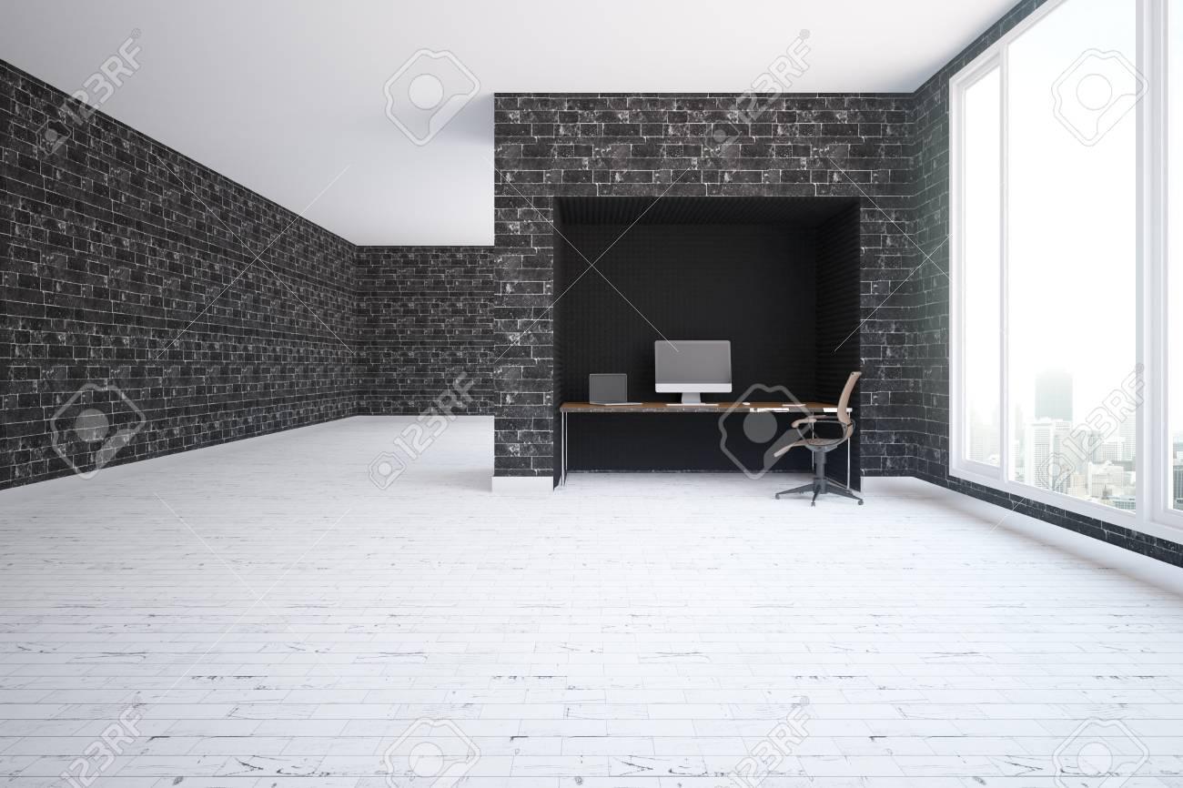 modern interior with black brick walls light wooden floor workplace
