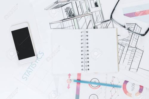small resolution of stock photo top view of white office table with blank notepad smartphone and other objects mock up
