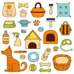 Vector Illustration With Cartoon Hand Drawn Dog Stuff Icons With Royalty Free Cliparts Vectors And Stock Illustration Image 81385595