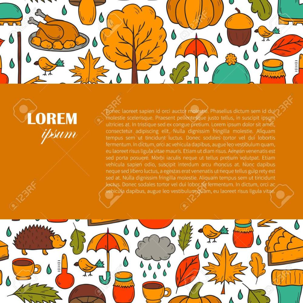 medium resolution of vector cartoon illustration with hand drawn autumn background pumpkin pie turkey autumn leaves