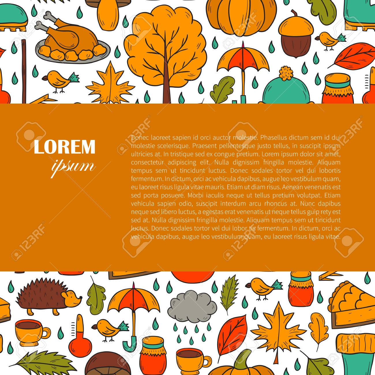 hight resolution of vector cartoon illustration with hand drawn autumn background pumpkin pie turkey autumn leaves