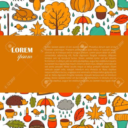 small resolution of vector cartoon illustration with hand drawn autumn background pumpkin pie turkey autumn leaves