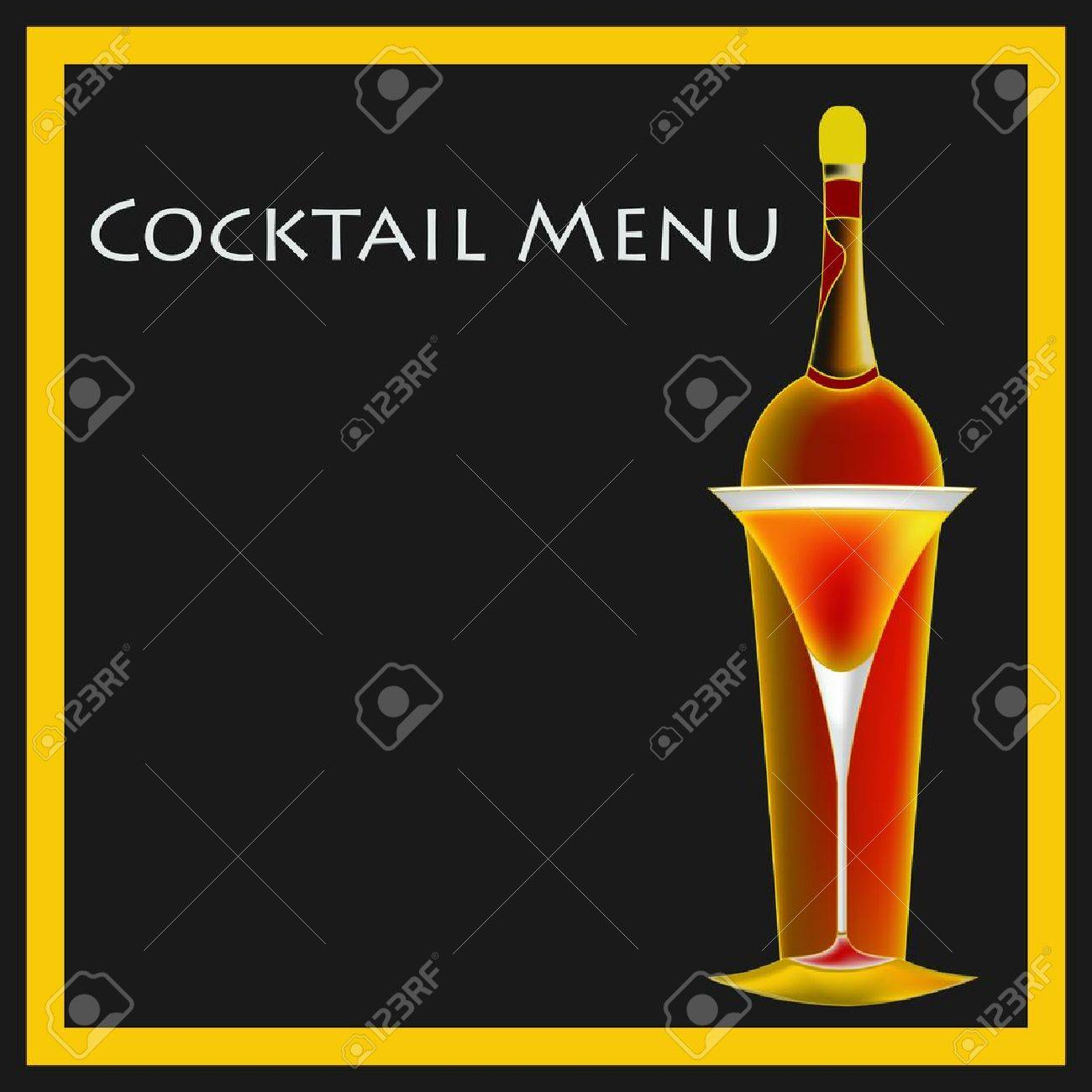 A Vintage Deco Style Cocktail Bar Menu Template Illustration Stock Vector -  13093832