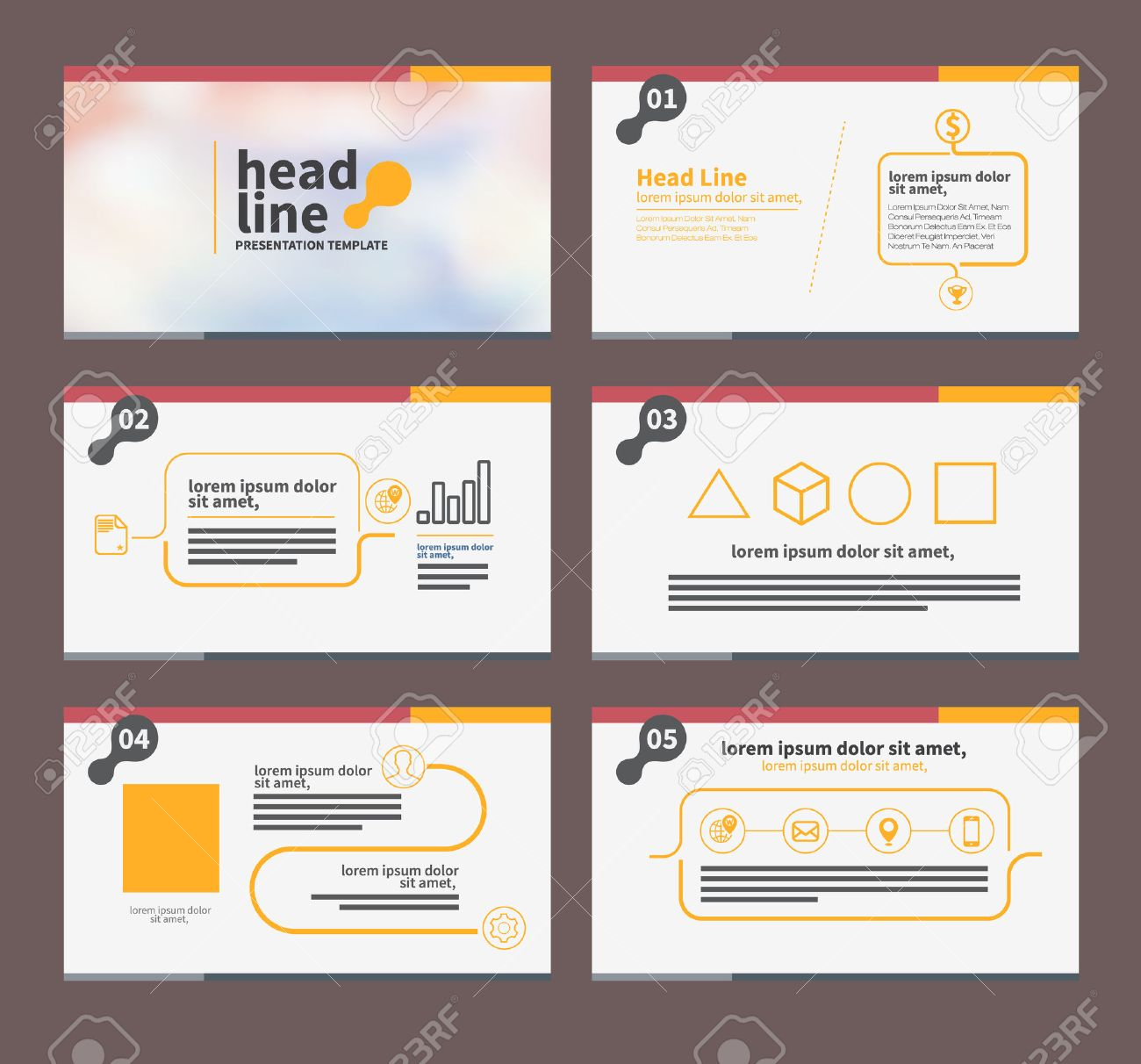 Presentation Template Flat Design Set For Brochure Flyer Marketing ...