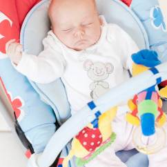 Baby Sleeping Chair Dutailier Rocking One Month Old Girl In S Stock Photo 52198365