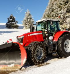 tractor snow plow a large red tractor with snow plow during a winter stock [ 1300 x 867 Pixel ]