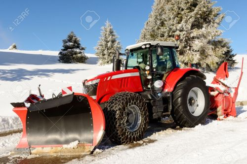 small resolution of tractor snow plow a large red tractor with snow plow during a winter stock