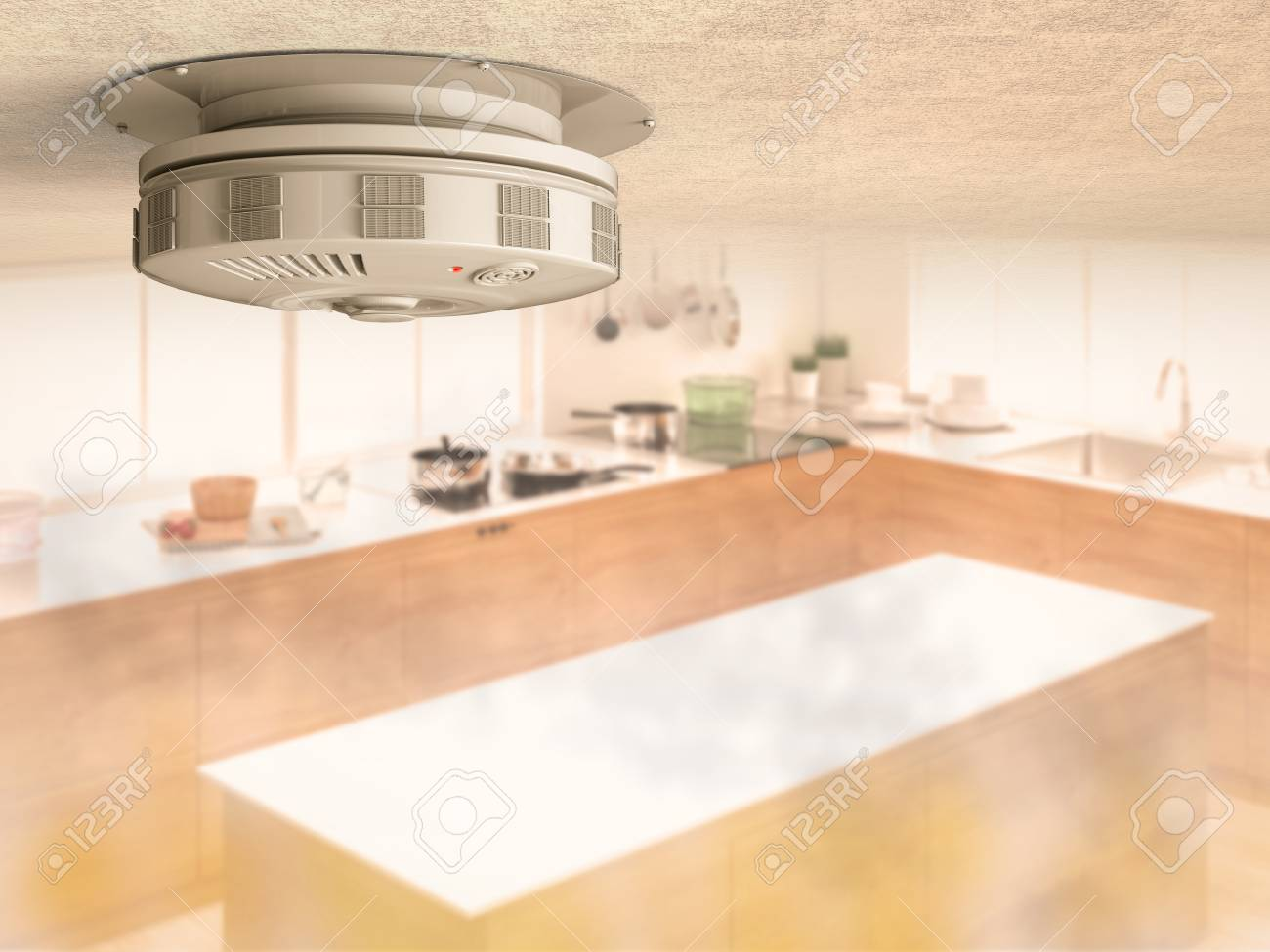 kitchen smoke detector lowes outdoor kitchens 3d rendering on ceiling with in stock photo 64609786