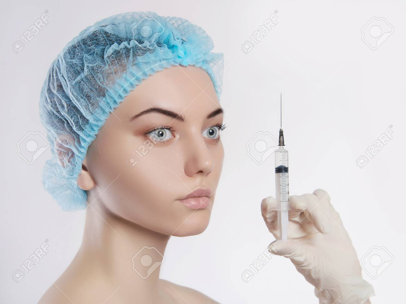 hight resolution of stock photo young woman with botox injections in the syringe girls cosmetology