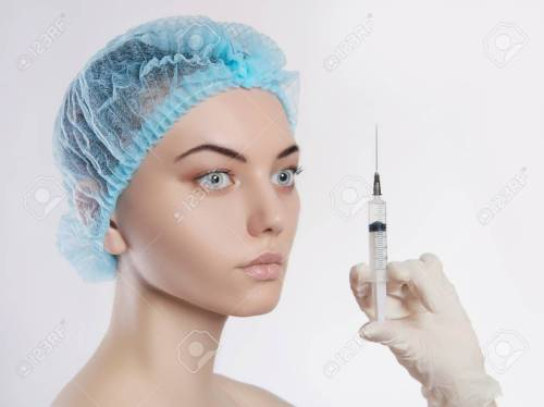 small resolution of stock photo young woman with botox injections in the syringe girls cosmetology