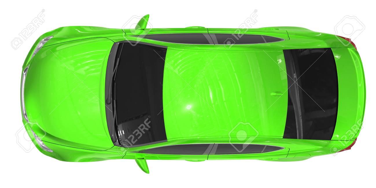 67e6b37d2d74e0 Auto Op Wit Wordt Geïsoleerd Groene Verf Gekleurd Glas Hoogste Mening Het  3d Teruggeven